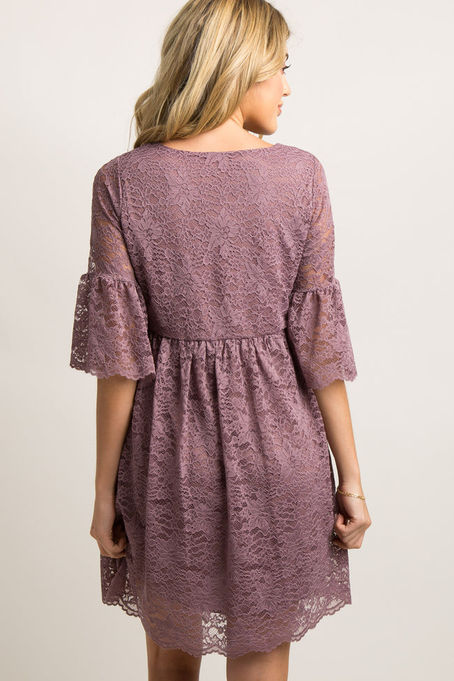 Mauve Lace Overlay Ruffle Pleated Maternity Dress