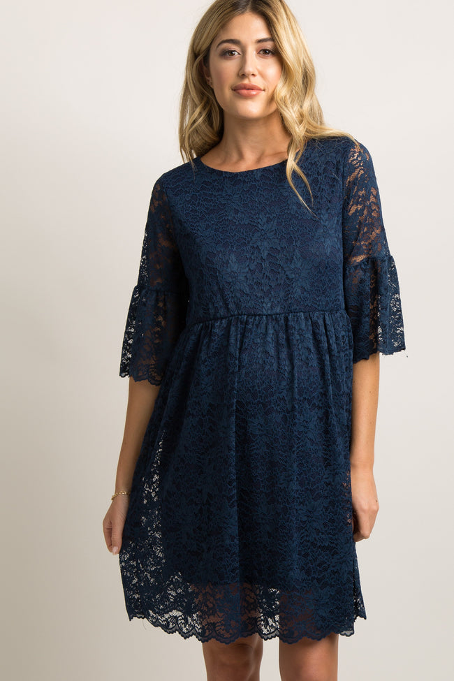 Navy Blue Lace Overlay Ruffle Pleated Maternity Dress