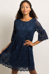 Navy Blue Lace Overlay Ruffle Pleated Dress