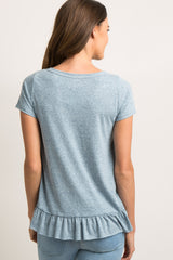 Blue Heathered Raw Cut Ruffle Hem Top