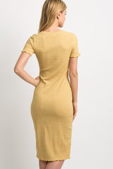 Yellow Faded Ribbed Fitted Dress