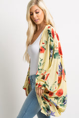 Yellow Floral Draped Dolman Cover Up