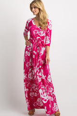 Fuchsia Rose Print Wrap Maxi Dress