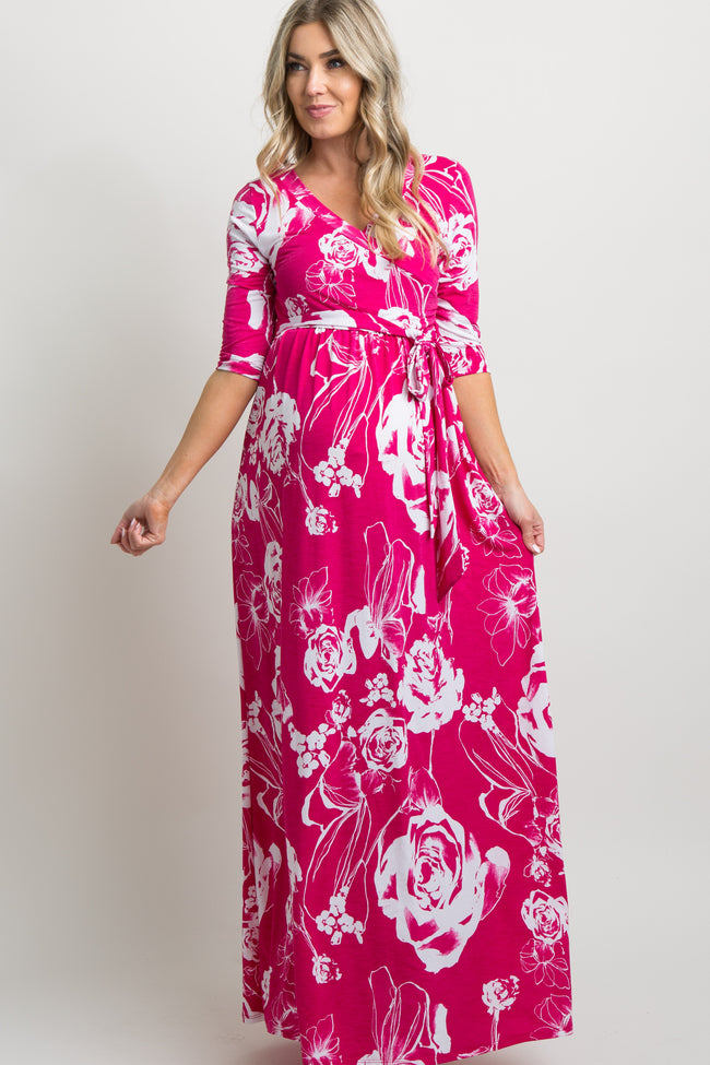 Fuchsia Rose Print Wrap Maternity Maxi Dress
