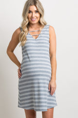 Grey Striped Ribbed Ladder Cutout Front Maternity Dress