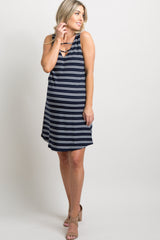 Navy Blue Striped Ribbed Ladder Cutout Front Dress