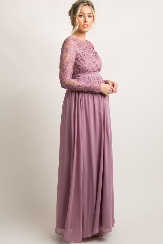 Mauve Lace Trim Open Back Maternity Evening Gown