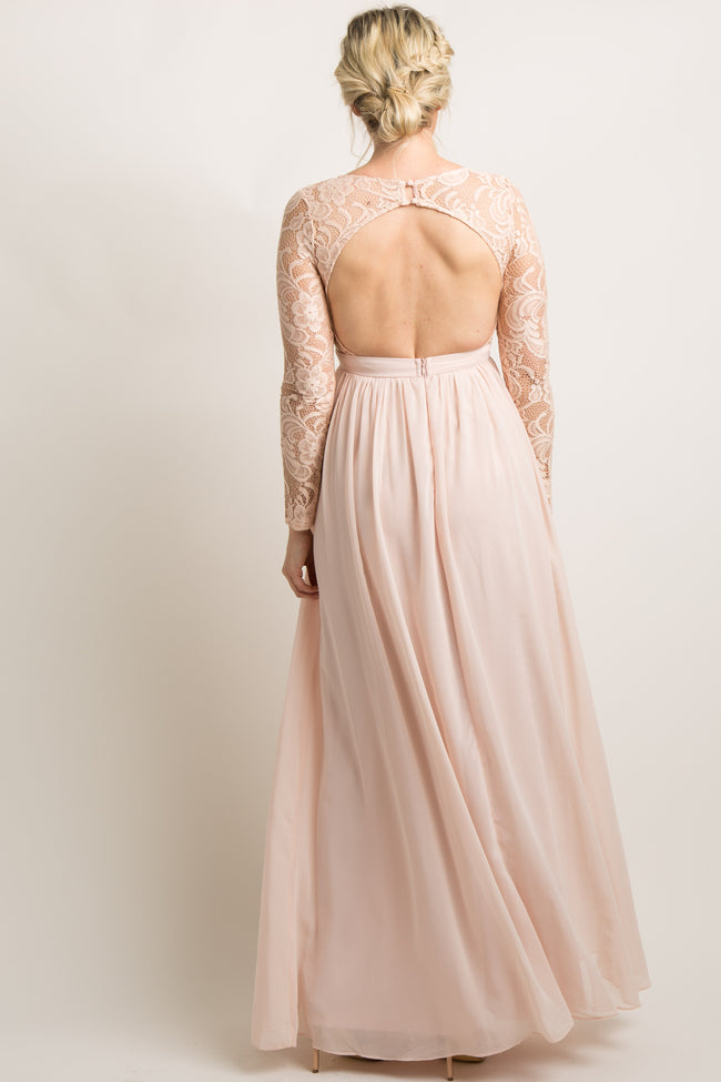 Light Pink Lace Trim Open Back Maternity Evening Gown