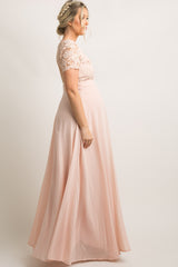Light Pink Crochet Chiffon Open Back Maternity Evening Gown
