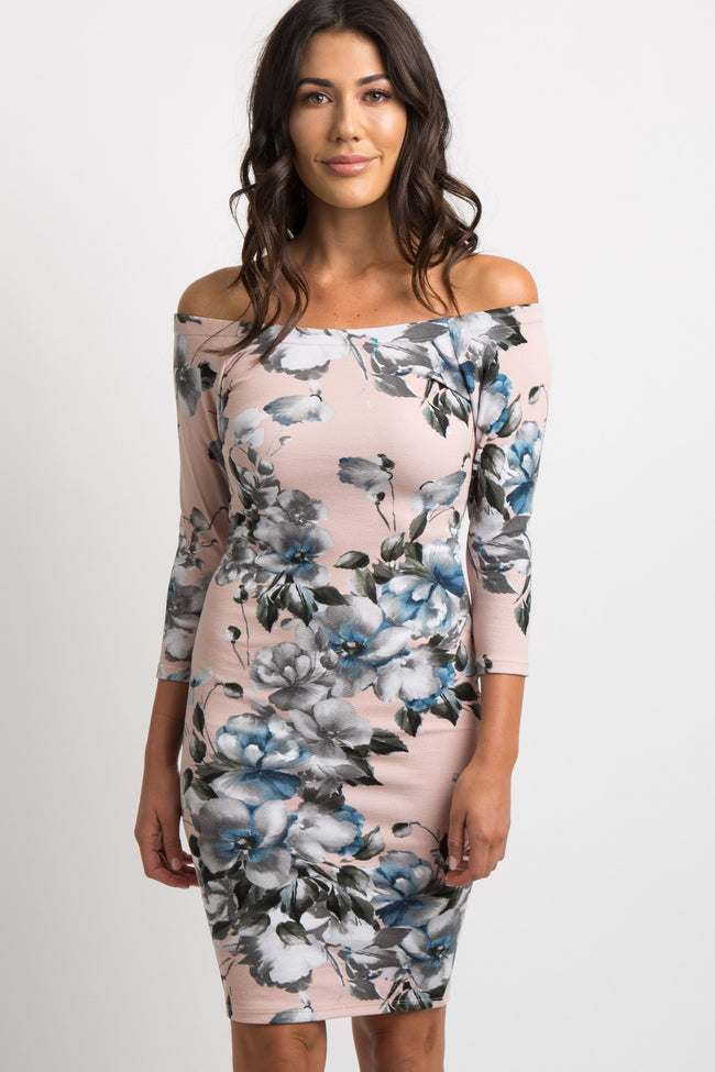 Light Pink Floral Off Shoulder Fitted Dress