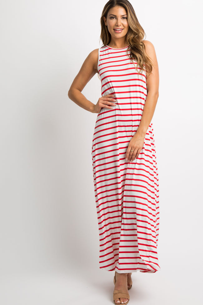 Red Striped Sleeveless Maternity Maxi Dress