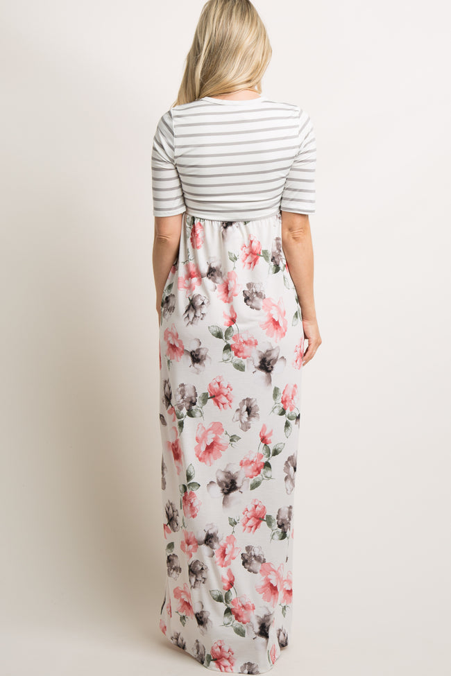 Ivory Striped Floral Maternity Maxi Dress