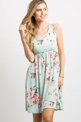 Mint Green Floral Sleeveless Maternity Dress