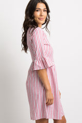 Red Pinstriped Ruffle Sleeve Dress