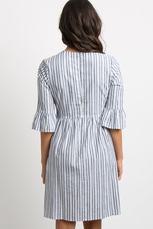 Blue Striped Ruffle Sleeve Midi Dress