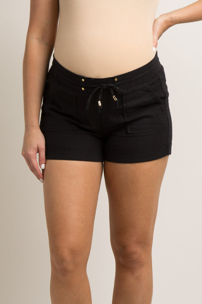 Black Linen Drawstring Maternity Short