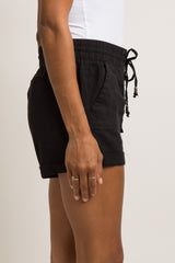 Black Linen Drawstring Short