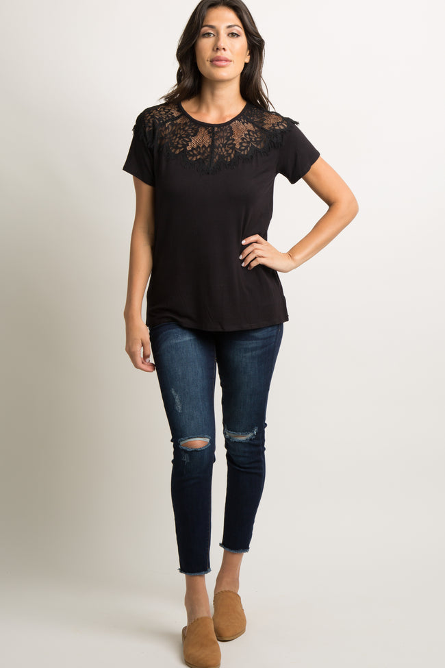 Black Scalloped Lace Accent Top