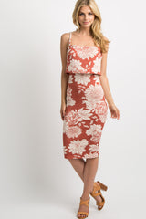 Rust Floral Overlay Fitted Cami Midi Dress