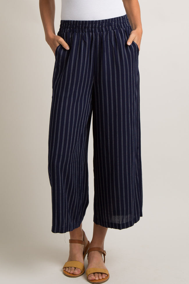 Navy Pinstriped Cropped Wide Leg Pants