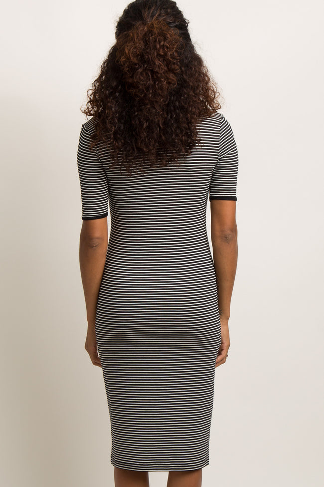 Black Striped Fitted Midi Dress