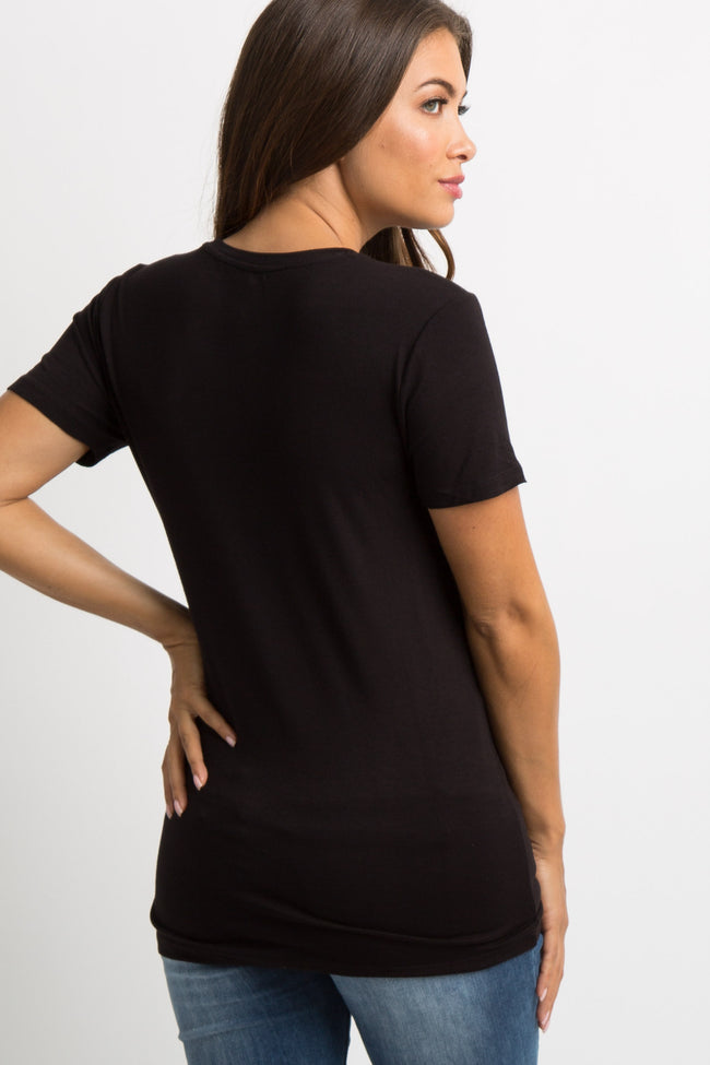 Black Solid Short Sleeve Top