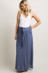 Blue Pinstriped Button Tie Front Maxi Skirt