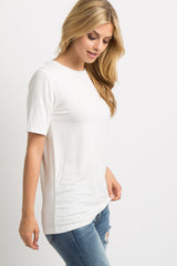 Ivory Solid Short Sleeve Maternity Top
