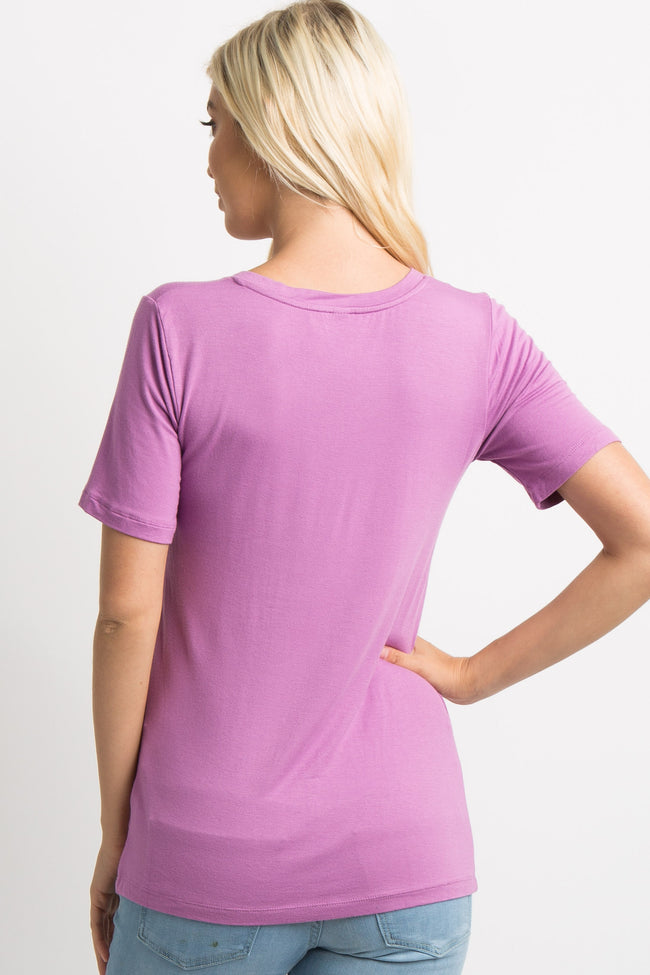Mauve Basic V-Neck Top