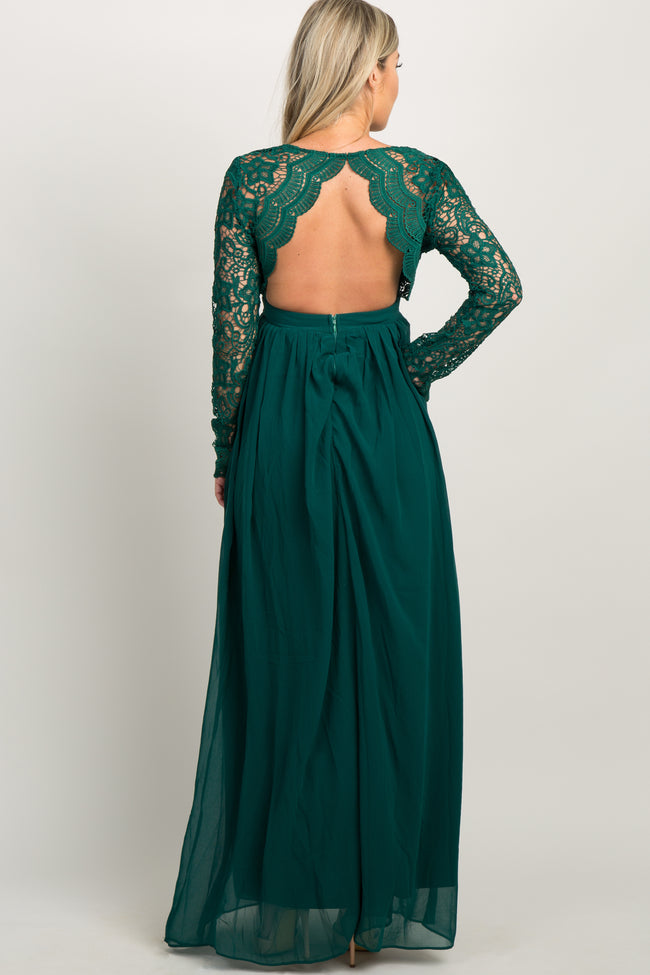 Forest Green Scalloped Crochet Chiffon Maternity Evening Gown