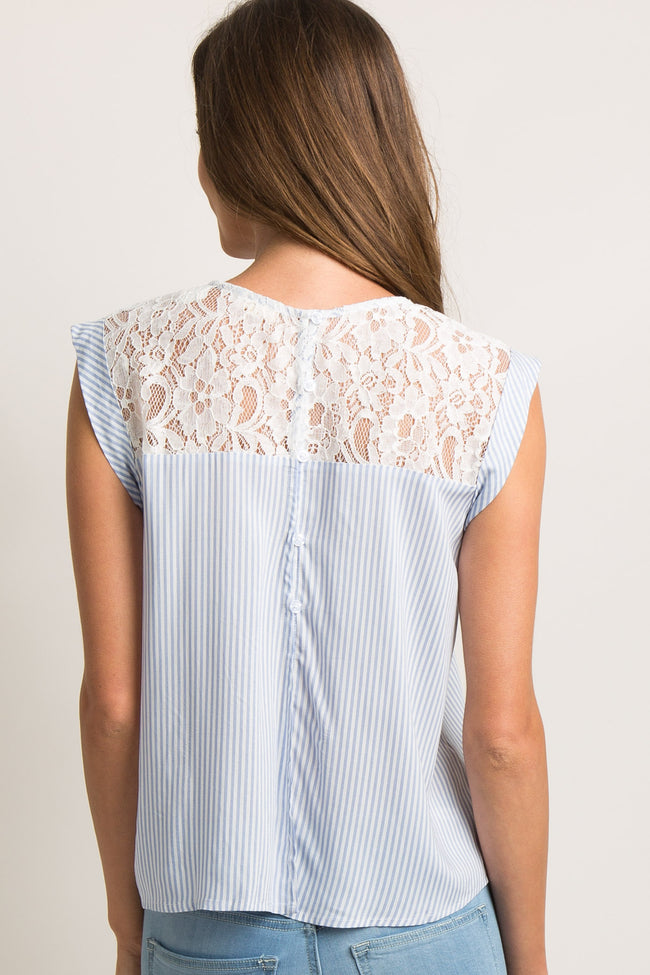 Light Blue Striped Lace Button Back Top