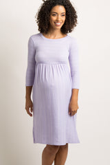 Lavender Pinstriped Pleated Maternity Dress