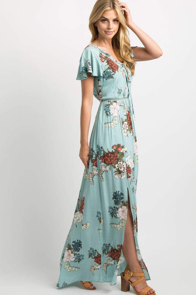 Mint Green Floral Crisscross Tie Front M-Slit Maxi Dress