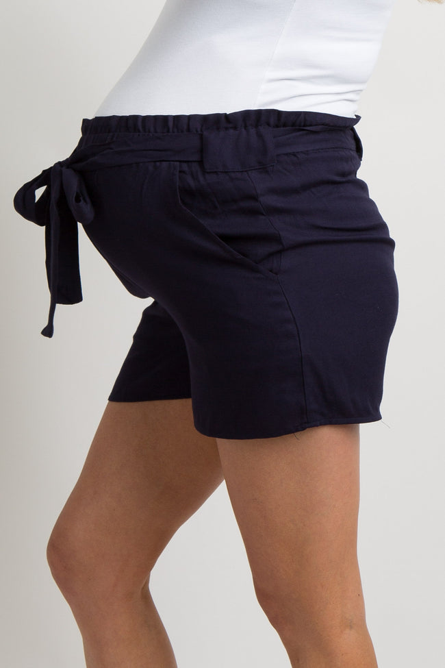 Navy Blue Tie Waist Maternity Shorts