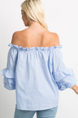 Blue Striped Ruffle Puff Sleeve Off Shoulder Top