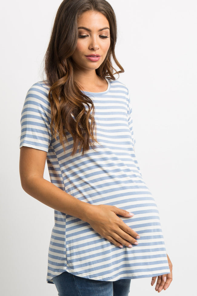 Blue Striped Cutout Back Maternity Top