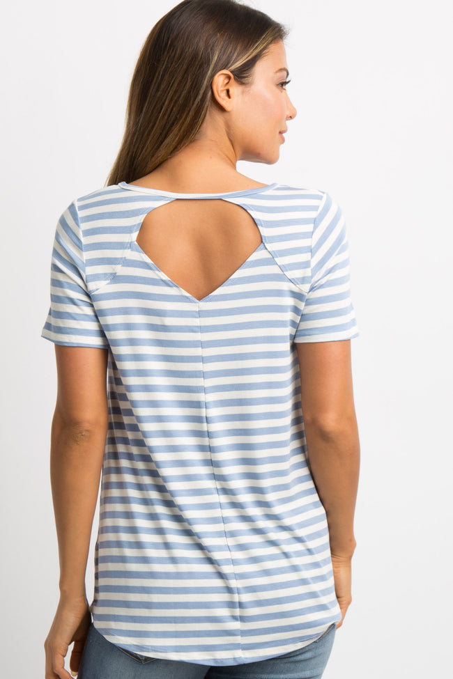 Blue Striped Cutout Back Top