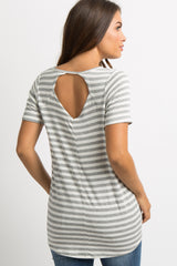 Heather Grey Striped Cutout Back Maternity Top