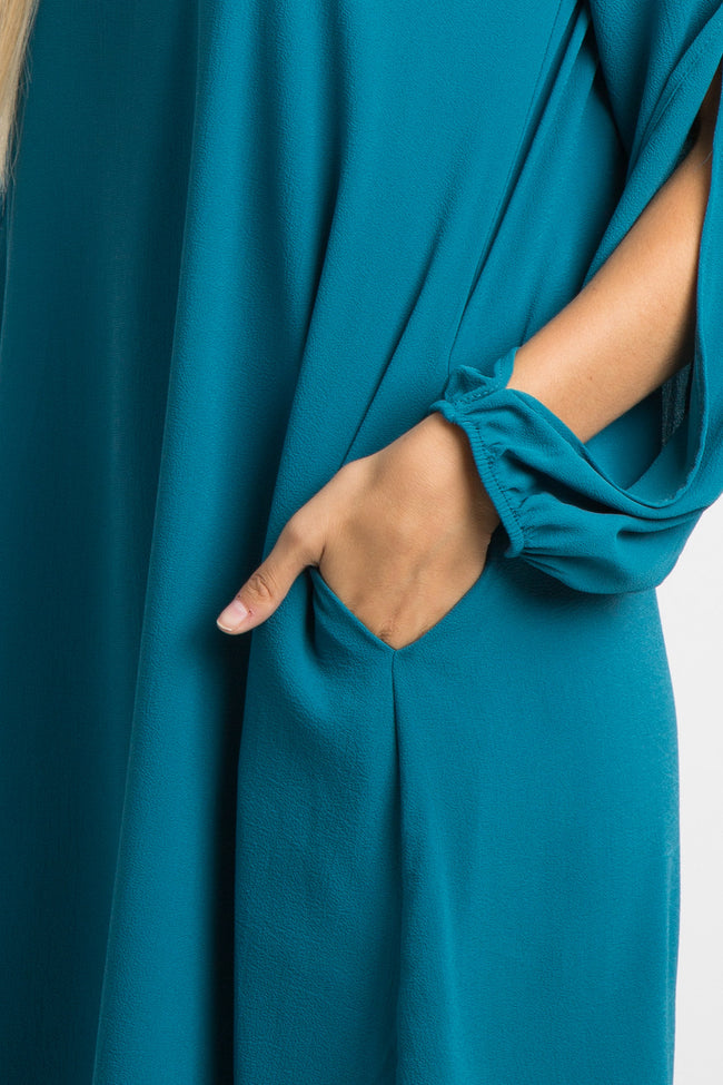 Teal Chiffon Open Sleeve Dress