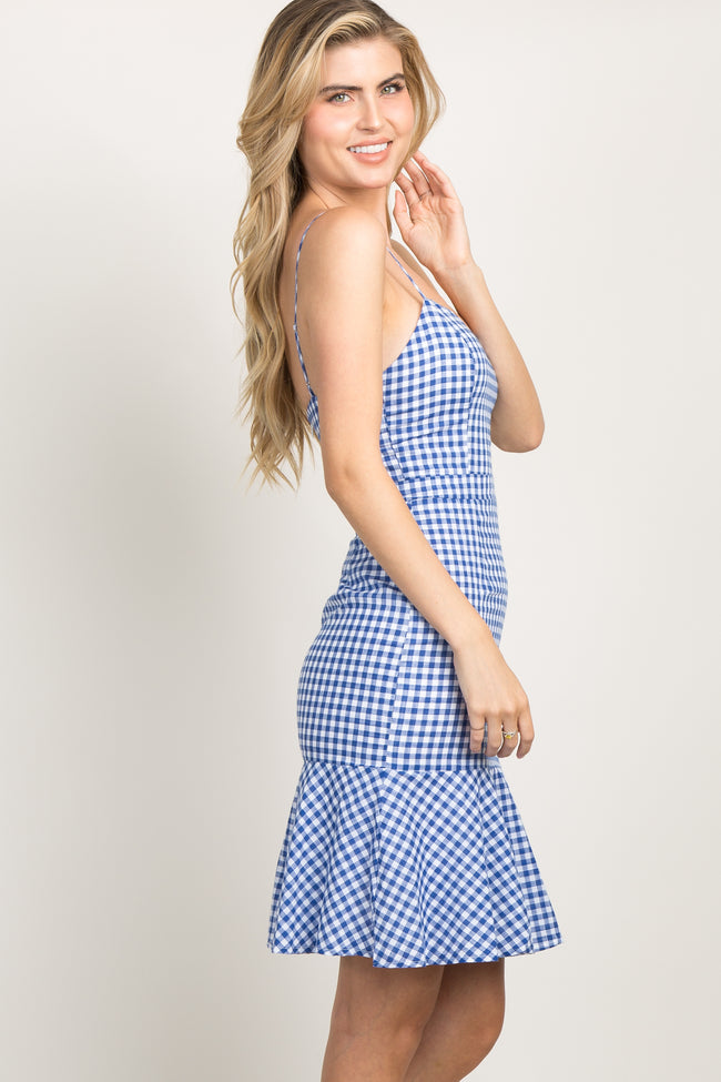 Blue Gingham Flounce Trim Sweetheart Dress