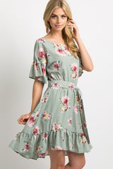Light Olive Floral Sash Tie Ruffle Dress