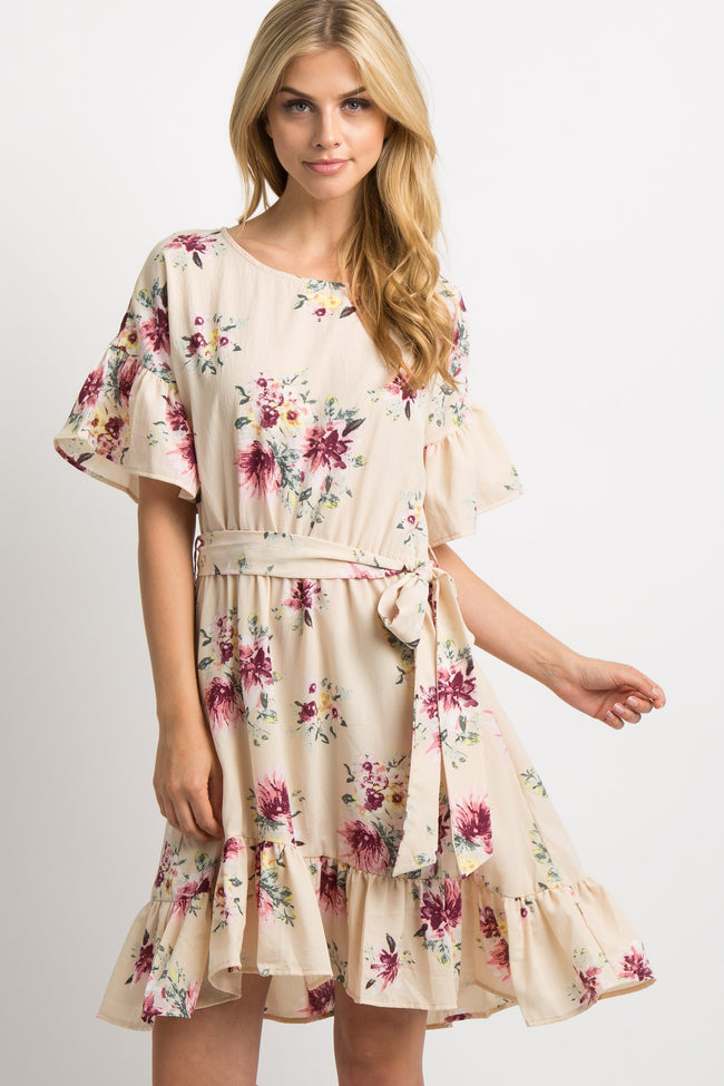 Ivory Floral Sash Tie Ruffle Dress