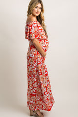 Red Floral Ruffle Off Shoulder Maternity Maxi Dress