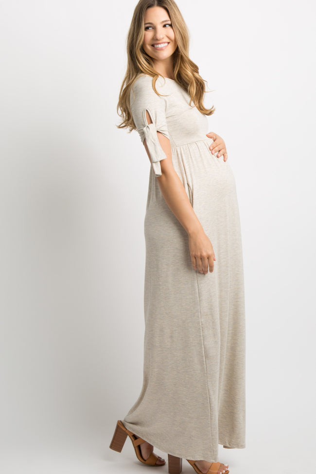 Beige Solid Sleeve Tie Maternity Maxi Dress
