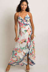 Ivory Tropical Print Flounce Trim Wrap Tie Dress