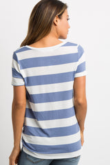 Light Blue Striped Knotted Top