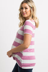 Mauve Striped Knotted Maternity Top