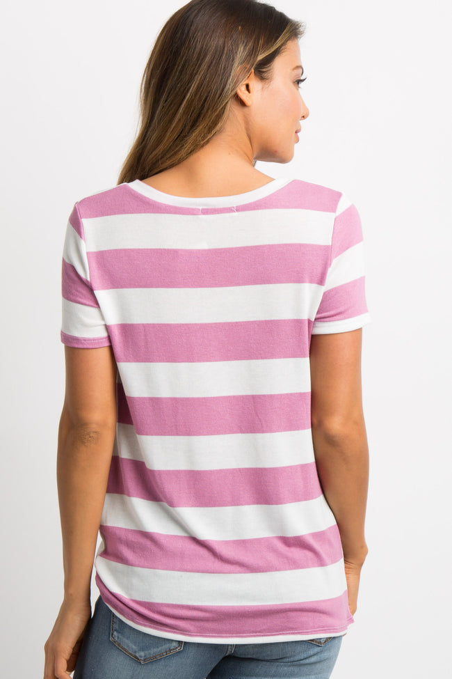 Mauve Striped Knotted Top