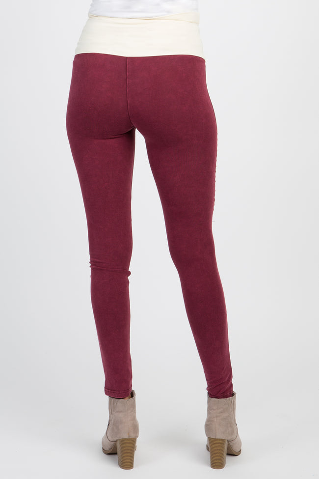 Burgundy Moto Side Panel Maternity Leggings
