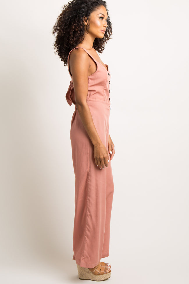 Mauve Button Accent Wide Leg Jumpsuit